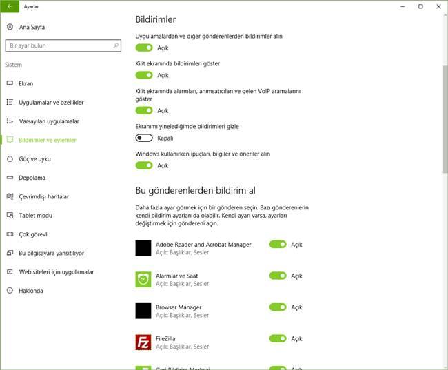 windows 10 bildirimleri açma kapatma