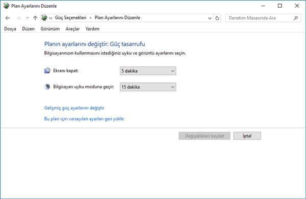 windows 10 güç tasarrufu ayarları 1