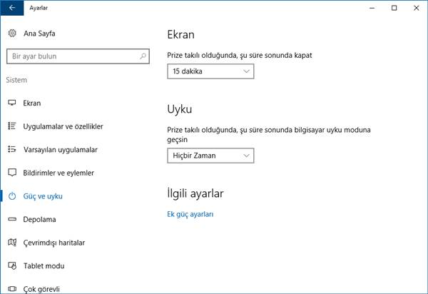windows 10 güç ve uyku