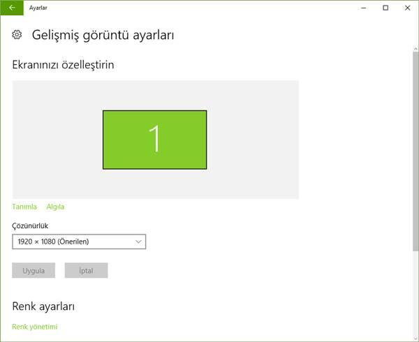 windows 10 gelişmiş görüntü ayarları