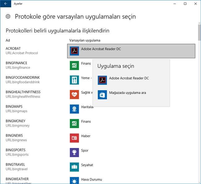 windows 10 protokole göre varsayılan uygulamalar değiştirme