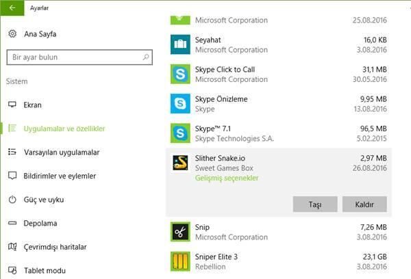 windows 10 uygulama ve oyun kaldırma