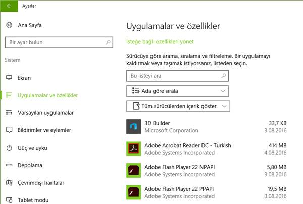 windows 10 uygulamalar ve oyunlar