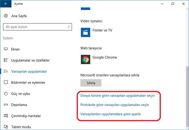 windows 10 varsayılan uygulamalar değiştirme 2