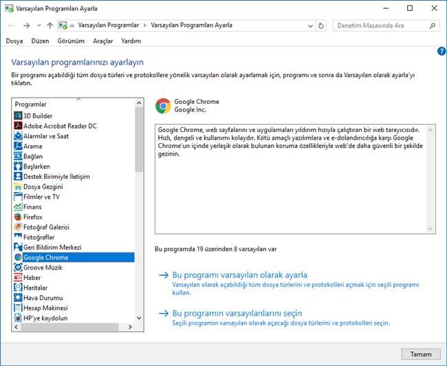 windows 10 varsayılan uygulamalara göre ayarlama