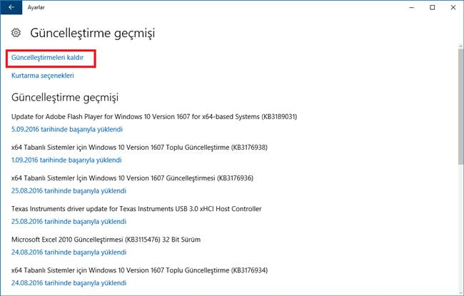 windows 10 güncelleştirme geçmişi görüntüleme