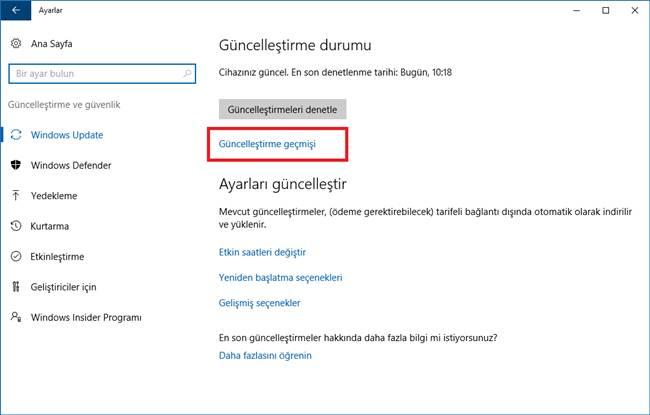 windows 10 güncelleştirme geçmişi
