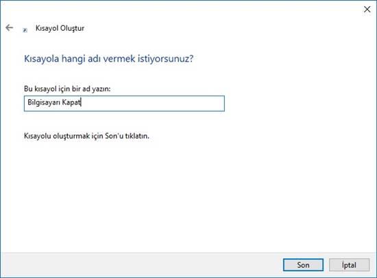 windows 10 kısayol oluşturma 2