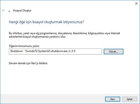 windows 10 kısayol oluşturma