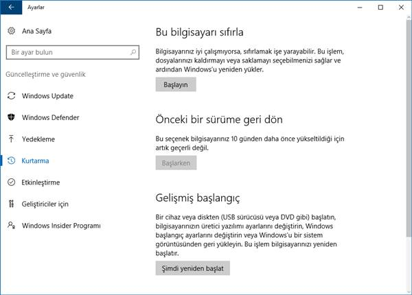 windows 10 kurtarma