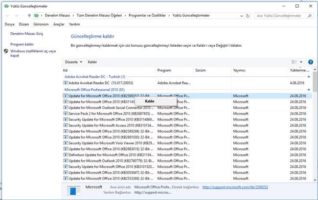 windows 10 yüklü güncelleştirme kaldırma