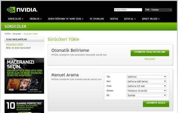 nvidia-surucu-sayfasi