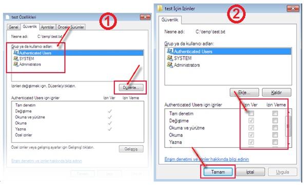 windows 10 yönetici izinleri
