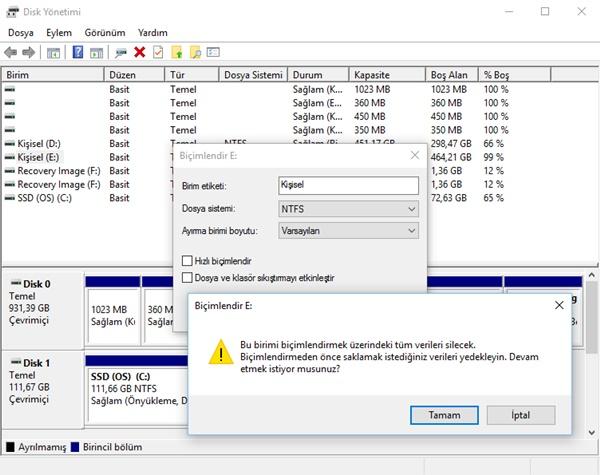 disk biçimlendirme ayarları 2