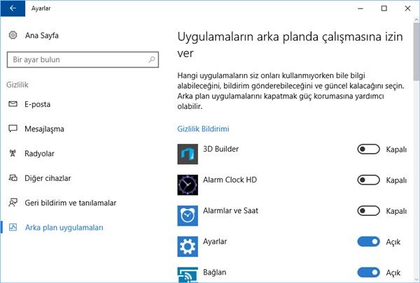 windows 10 arka plan uygulamaları ayarları