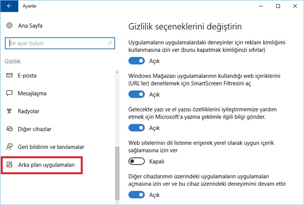 windows 10 arka plan uygulamaları