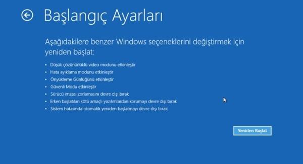 windows 10 başlangıç ayarları