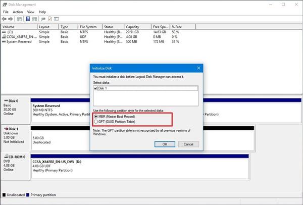 windows 10 disk tanımlama 2