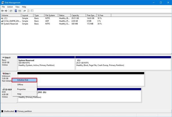 windows 10 disk tanımlama