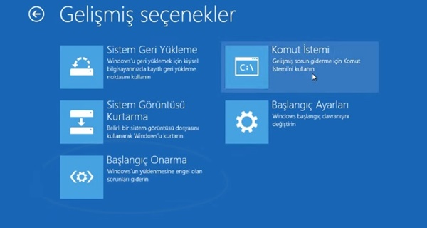 windows 10 gelişmiş seçenekler ekranı