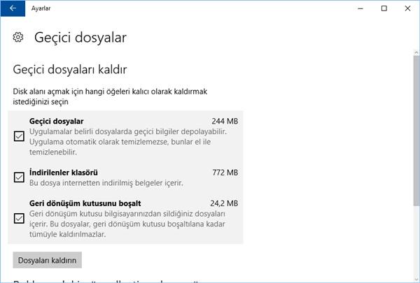 windows depolama alanı temizleme geçici dosyalar