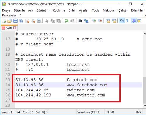 hosts dosyası düzenleme
