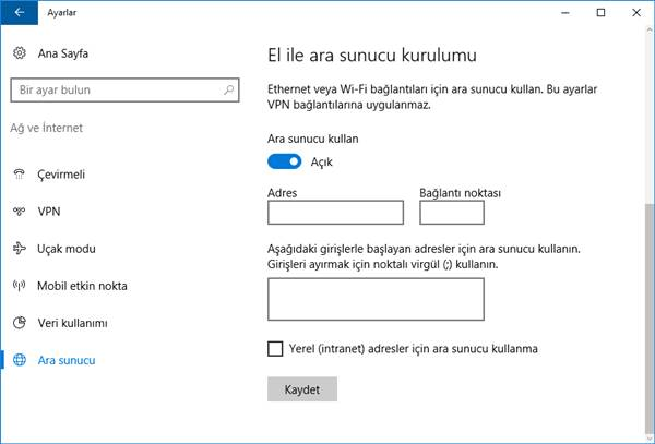 windows 10 proxy - ara sunucu