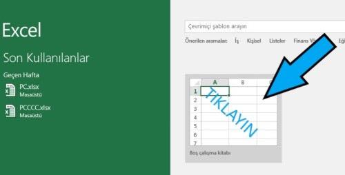 MS Excel'i boş sayfa ile başlatma
