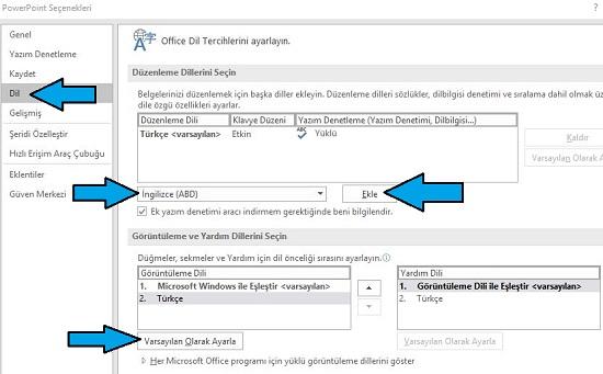 Microsoft PowerPoint yazım hataları düzenleme dili nasıl ayarlanır