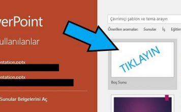 PowerPoint'i boş sayfa ile açma