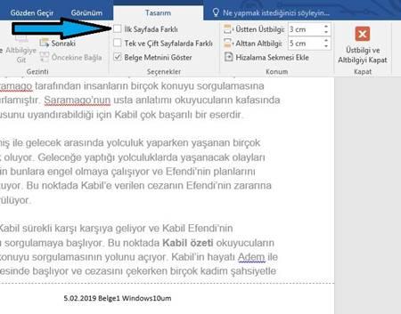 Word alt bilgi ekleme ve silme