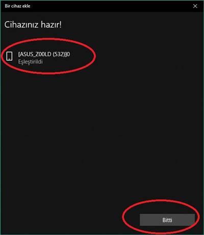 Windows 10 bluetooth ekleme