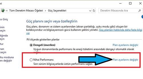 Windows 10 yüksek performans modunu açma