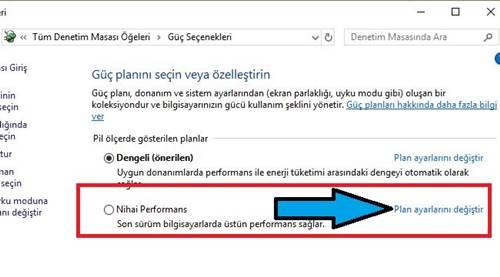 Windows 10 yüksek performans modunu açma