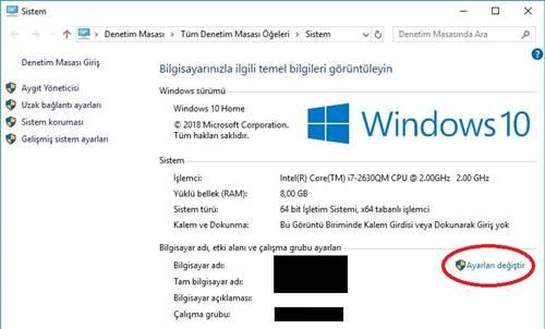 Windows 10'da bilgisayar adı değiştirme