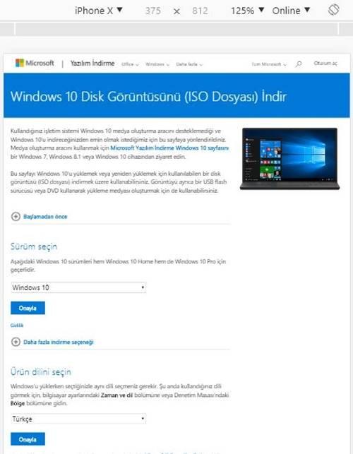 Orjinal Windows 10 son sürüm indirme