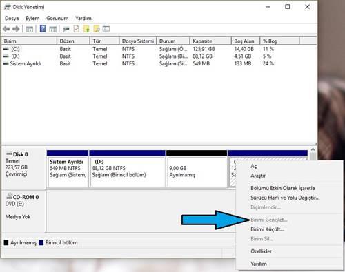 Windows 10 C Sürücüsü Genişletilmiyor