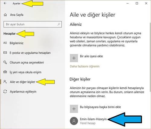 Windows 10 da Bir Kullanıcıyı Admin-Yönetici Yapma