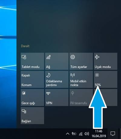 Windows 10 ekran parlaklığı ayarlama