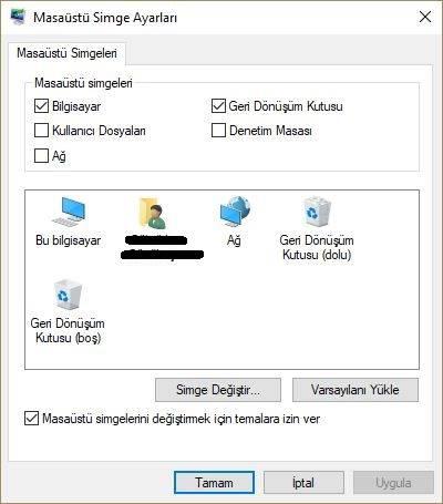 Windows 10 masaüstüne simgeleri ekleme ve kaldırma